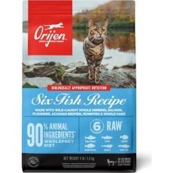 ORIJEN Grain Free Six Fish Premium High Protein Fresh & Raw Animal Ingredients Dry Cat Food, 4 lbs. found on Bargain Bro Philippines from petco.com for $28.99