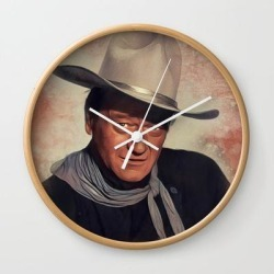 John Wayne, Hollywood Legend Wall Clock by Serpent Films - Natural - White found on Bargain Bro India from Society6 for $22.39