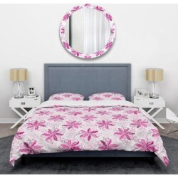 Designart 'Retro Floral Pattern XII' Mid-Century Duvet Cover Set (Full/Queen Cover +2 Shams (comforter not included)), Pink, DESIGN ART found on Bargain Bro from Overstock for USD $82.07