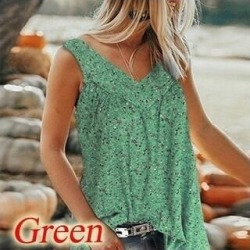 Women's Casual Floral Printed Shirts Deep V-Neck Tank Tops (Green - 6XL)(cotton) found on Bargain Bro India from Overstock for $31.08