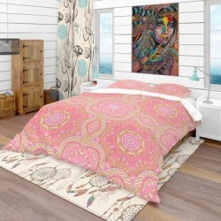 Designart 'Pink and Green Star Mandala' Bohemian & Eclectic Bedding Set - Duvet Cover & Shams found on Bargain Bro from Overstock for USD $85.83
