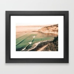 California Pacific Coast Highway // Vintage Waves Crashing On The Beach Teal Ocean Water Framed Art Print by Desertxpalm - Vector Black - X-Small-10x12