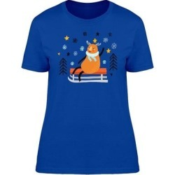 Sledging Deer Cartoon Style Tee Women's -Image by Shutterstock (White - M)(cotton, Graphic) found on Bargain Bro Philippines from Overstock for $13.99