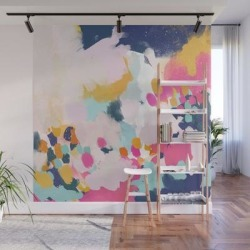 Wall Mural   Misty Blooms- Abstract - Blue , Pink And Yellow by Urvashi Art Studio - 8' X 8' - Society6 found on Bargain Bro Philippines from Society6 for $239.99