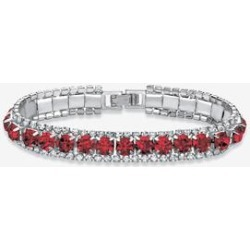 Women's Silver Tone Tennis Bracelet Simulated Birthstones and Crystal, 7