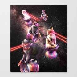 Canvas Print | Galaxy Laser Yo-yo Cat - Space Yo-yo Cats With Lazer Eyes by Random Galaxy - LARGE - Society6 found on Bargain Bro Philippines from Society6 for $127.39