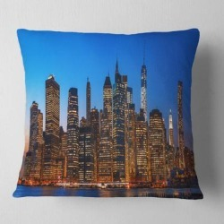 Designart 'Night New York City Panorama' Throw Pillow found on Bargain Bro from Overstock for USD $24.54
