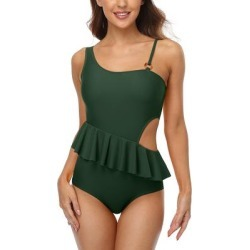 Charmo Women's One Piece Swimsuits DGA - Dark Green Peplum Asymmetrical Cutout One-Piece - Women & Plus found on Bargain Bro India from zulily.com for $24.99