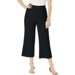Plus Size Women's Everyday Knit Wide-Leg Crop Pant by Jessica London in Black (Size 12) found on Bargain Bro Philippines from Ellos for $29.99
