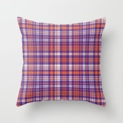 """Varsity Plaid Purple Orange And White Clemson Sports College Football Universities Couch Throw Pillow by Varsity Print Co. - Cover (16"""" x 16"""") with pillow insert - Indoor Pillow"""
