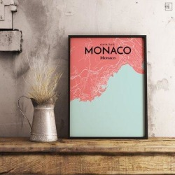 OurPoster.com 'Monaco City Map' Graphic Art Print Poster in Maritime Paper in Blue/Brown/Pink, Size 20.0 H x 16.0 W x 0.05 D in   Wayfair OP-MONB03 found on Bargain Bro Philippines from Wayfair for $51.99