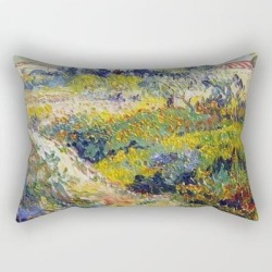 Rectangular Pillow | Vincent Van Gogh Flowering Garden by Vintage Restored Art - Small (17
