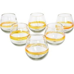 Handmade Blown glass drinking glasses Round Ribbon of Sunshine set of 6 (Mexico) found on Bargain Bro from Overstock for USD $53.19