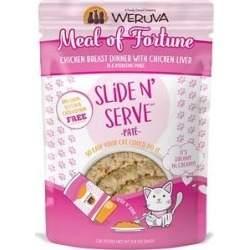 Weruva Slide N' Serve Meal of Fortune Chicken Breast Dinner With Chicken Liver Pate Grain-Free Cat Food Pouches, 2.8-oz pouch, case of 12