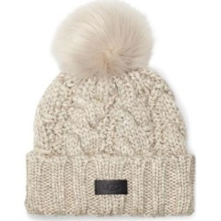 UGG Cable Knit Beanie With Faux Fur Pom - Gray - Ugg Hats found on Bargain Bro from lyst.com for USD $41.80