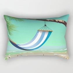 'pure Paradise' Jamaica Travel Poster Rectangular Pillow by Nick's Emporium - Small (17
