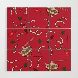 Wooden Wall Art | Send Noods by Lovemeordiy - 3' X 3' - Society6 found on Bargain Bro from Society6 for USD $79.79