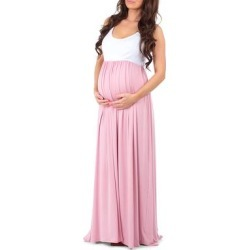 Mother Bee Maternity Women's Maxi Dresses WhtDustyPink - Dusty Pink & White Sleeveless Maternity Maxi Dress found on Bargain Bro Philippines from zulily.com for $12.99