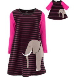 Leveret Girls' Casual Dresses - Pink & Black Stripe Elephant A-Line Dress & Doll Dress - Toddler & Girls found on Bargain Bro Philippines from zulily.com for $9.99
