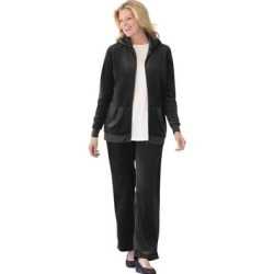 Plus Size Women's 2-Piece Velour Hoodie Set by Woman Within in Black (Size 38/40) found on Bargain Bro Philippines from fullbeauty for $49.99