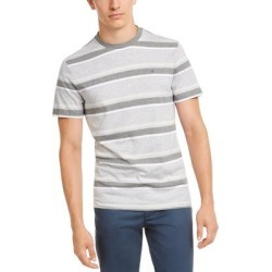Calvin Klein Men's Crewneck Stripe Cotton T-Shirt, Grey, XS (Grey - XS), Gray found on Bargain Bro from Overstock for USD $19.76