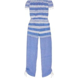 Freya Off-the-shoulder Embroidered Cotton-gauze Jumpsuit - Blue - Lemlem Jumpsuits found on MODAPINS from lyst.com for USD $164.00