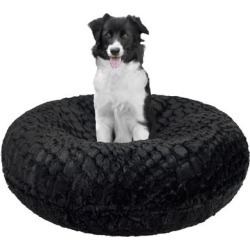 Bessie and Barnie Signature Serenity Black Luxury Extra Plush Faux Fur Bagel Pet Bed, 24