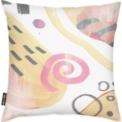 Oliver Gal 'Sensationalist' Abstract Decorative Throw Pillow Watercolor - Yellow, Pink (18 x 18)(Microfiber) found on Bargain Bro from Overstock for USD $36.81