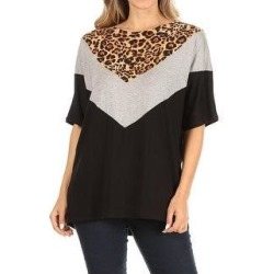 petite Women's Casual Boxy Loose Fit Short Sleeve T-Shirt Tunic Top (Animal Brown - XL), MOA Collection(Rayon) found on Bargain Bro Philippines from Overstock for $23.59