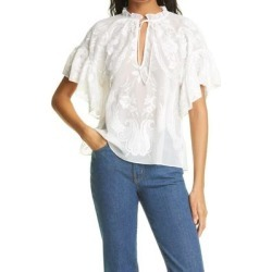 Julius Ruffle Sleeve Tunic - White - Alice + Olivia Tops found on MODAPINS from lyst.com for USD $275.00