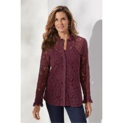Women's Francesca Shirt & Cami by Soft Surroundings, in Vermillion Purple size XS (2-4)