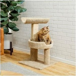 Frisco 30-in Real Carpet Wooden Cat Tree, Beige found on Bargain Bro from Chewy.com for USD $47.87