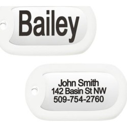 GoTags Personalized Rectangle Dog Tag in Stainless Steel Reduce Noise and Protect Tag, Medium, Silver / White found on Bargain Bro Philippines from petco.com for $9.95