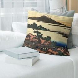 Porch & Den Katsushika Hokusai 'Dawn at Isawa in Kai Province' Throw Pillow (14 x 14 - Brown & Green - Linen) found on Bargain Bro from Overstock for USD $42.55
