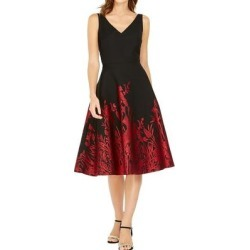 Natori Womens Dress Black Red Size 14 Sheath V-Neck Peacock-Print (14), Women's(polyester) found on Bargain Bro India from Overstock for $99.98