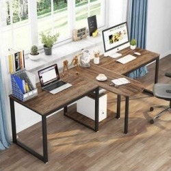 94.5 inch Two Person Desk Long 2 People Workstation (Brown) found on Bargain Bro Philippines from Overstock for $269.99