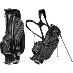 Costway Golf Stand Cart Bag with 6-Way Divider Carry Pockets-Black found on Bargain Bro from Costway for USD $72.92