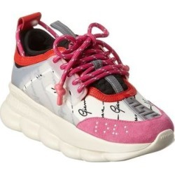 Versace Chain Reaction Leather & Suede Sneaker (35.5), Women's, Pink found on Bargain Bro from Overstock for USD $718.95