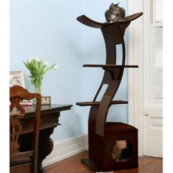 The Refined Feline Lotus 69-in Microfiber Cat Tree, Espresso found on Bargain Bro from Chewy.com for USD $303.99
