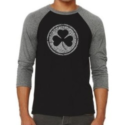 Los Angeles Pop Art Men's Raglan Baseball Word Art T-shirt - LYRICS TO WHEN IRISH EYES ARE SMILING (Black / Grey - m), Multicolor found on Bargain Bro India from Overstock for $25.19