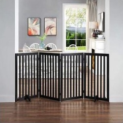 Unipaws 36-in 4 Panel Free Standing Dog & Cat Gate, Black found on Bargain Bro Philippines from Chewy.com for $109.99
