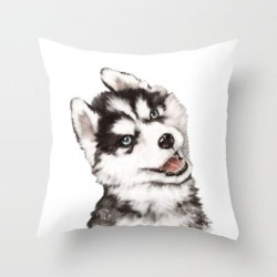 Couch Throw Pillow | Baby Husky by Big Nose Work - Cover (16