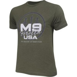 BerettaUSA   M9 Trident T-Shirt in Heather Military Green, Cotton/Synthetic Fiber, Size: 3XL