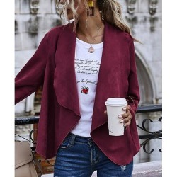 Camisa Women's Non-Denim Casual Jackets Wine - Wine Shawl-Collar Open Cardigan - Women found on Bargain Bro from zulily.com for USD $18.99