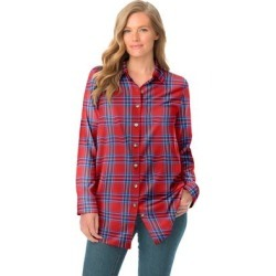 Plus Size Women's Classic Flannel Shirt by Woman Within in Red Fun Plaid (Size M) found on Bargain Bro Philippines from fullbeauty for $39.99