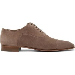 Taupe Suede Greggo Flat Oxfords - Brown - Christian Louboutin Lace-Ups found on Bargain Bro from lyst.com for USD $646.00