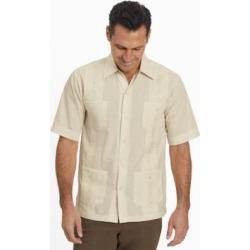 Men's TropiCool Short-Sleeve Guayabera Shirt, Birch Tan XL found on Bargain Bro from Blair.com for USD $15.19