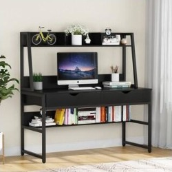 Tribesigns 47 Inches Computer Desk with 2 Drawers and Hutch - Black (Black) found on Bargain Bro Philippines from Overstock for $215.99