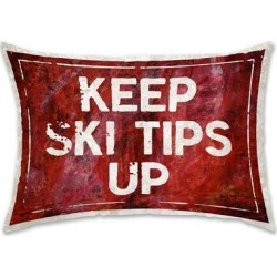 Oliver Gal 'SKI Tips Up' Decorative Throw Pillow, Red, Oliver Gal Artist Co.(Microfiber, Quotes & Sayings) found on Bargain Bro from Overstock for USD $29.39