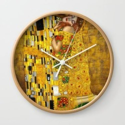 Wall Clock | The Kiss Gustav Klimt Painting by Vintage Restored Art - Natural - White - Society6 found on Bargain Bro from Society6 for USD $17.02